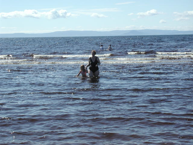 Penny & Eleanor take a dip in the sea - Ayr 23/7/2007